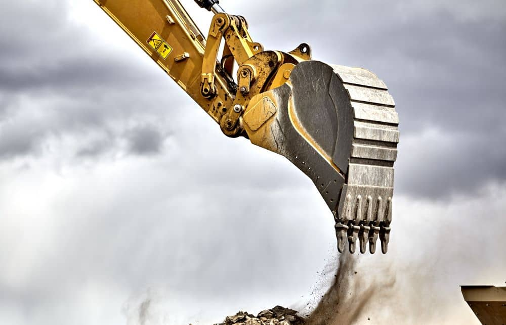 Heavy-duty buckets are used in large excavators.
